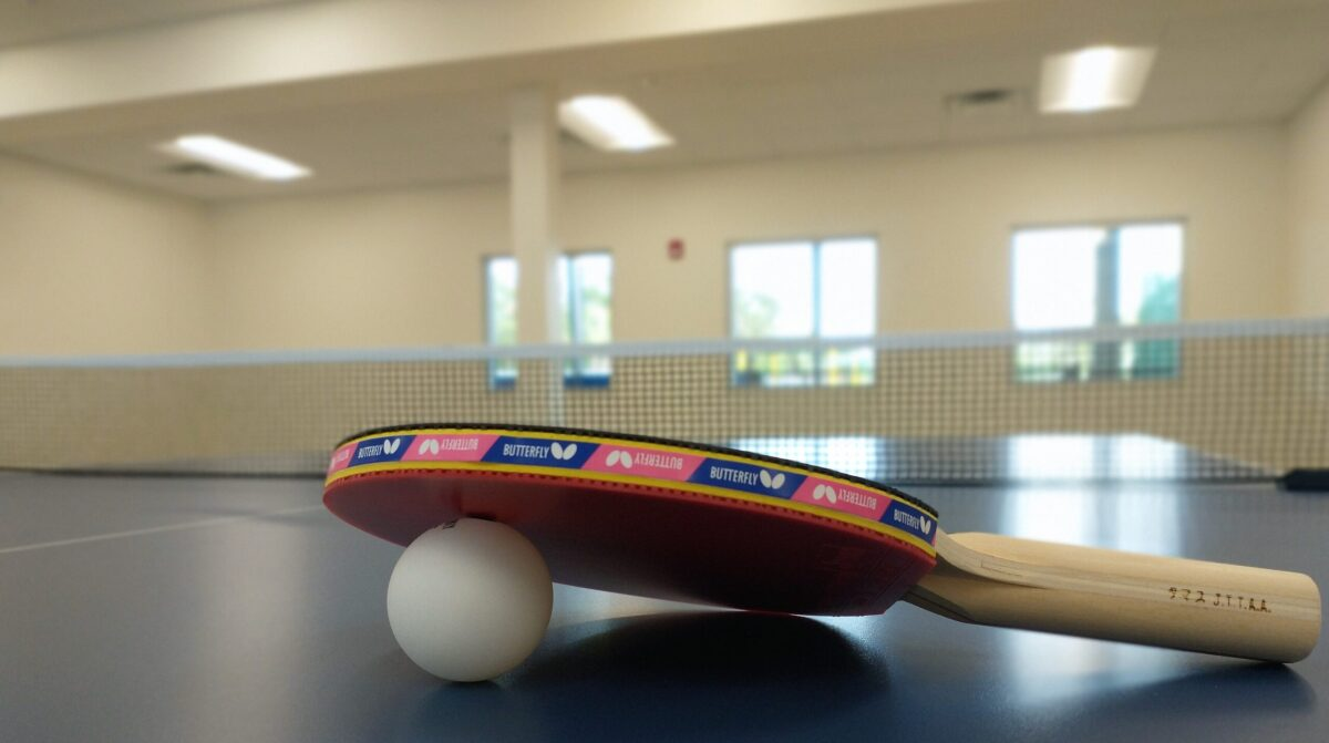 Table Tennis and ball on table