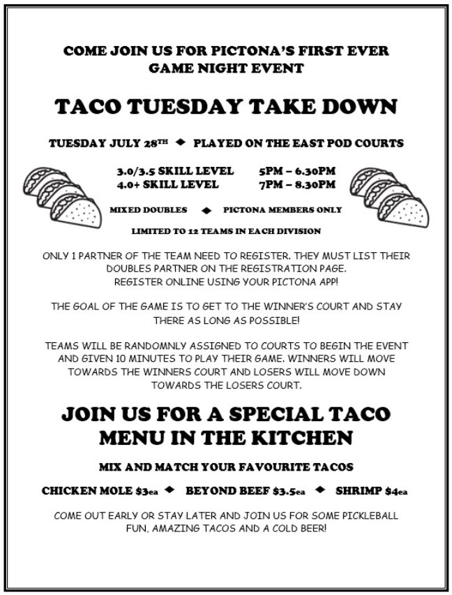 Flyer announcing Pictona's Taco Tuesday Take Down event