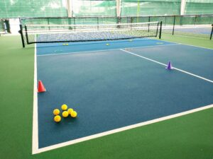 Drills set up on Pickleball court